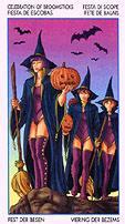 Ведьмы с тыквами и метлами идут на праздник Самхейн (Паж метел)